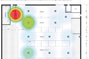 Gebäudeplan: Energieauswertung In den roten Flächen liegt der durchschnittliche tägliche Energieverbrauch bei 0,60 kWh. Die grün/blauen Bereiche haben einen Verbrauch von 0,20 kWh.